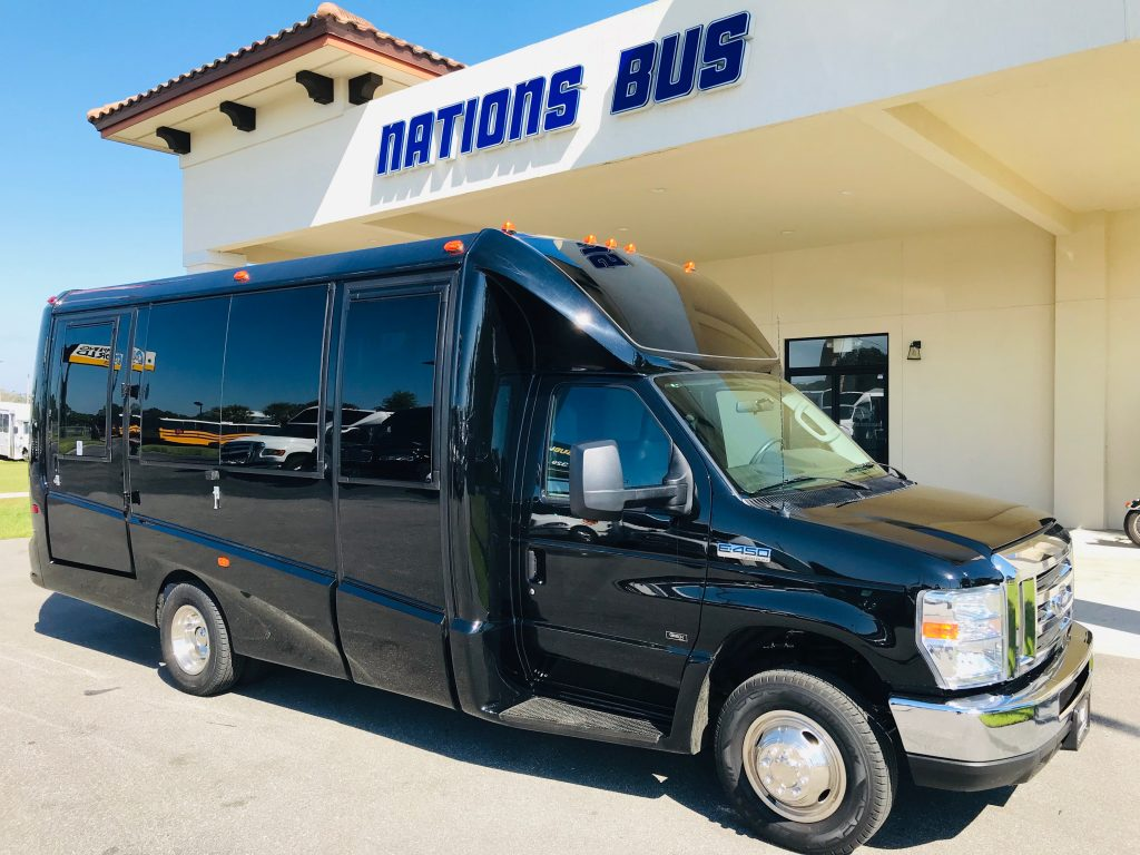 Ford E-450 13 passenger charter shuttle coach bus for sale - Gas