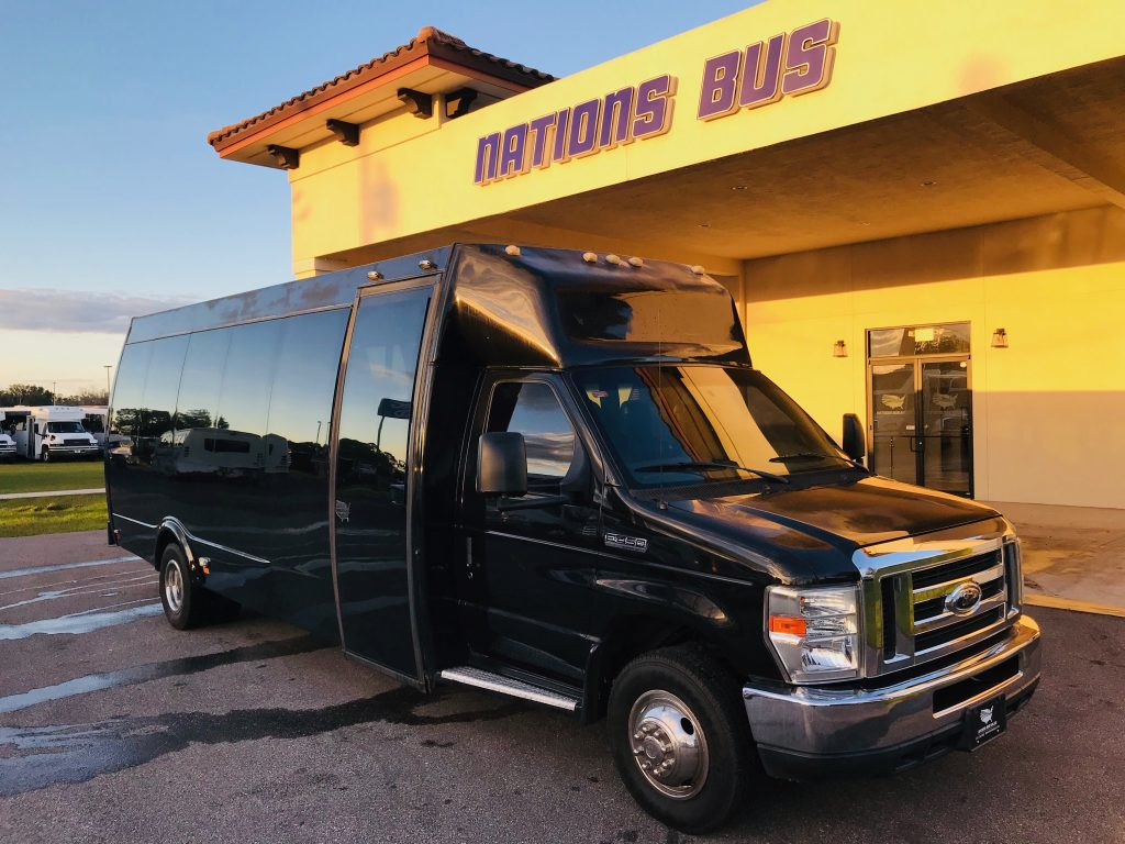 Ford E-450 15 passenger charter shuttle coach bus for sale - Gas