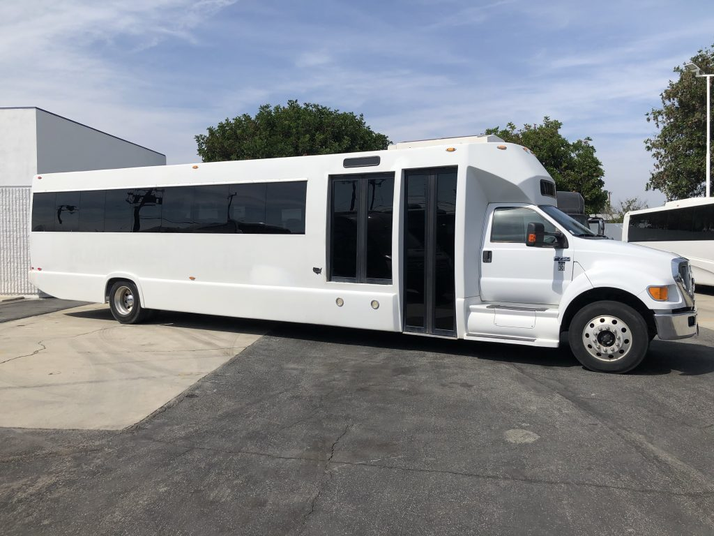 Ford F750 48 passenger charter shuttle coach bus for sale - Diesel