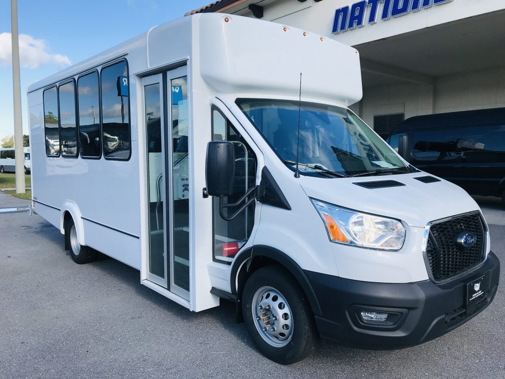 Ford Transit 350 HD 14 passenger charter shuttle coach bus for sale - Gas